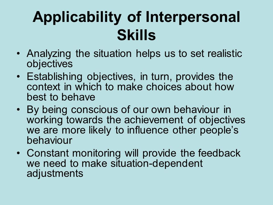 Applicability of Interpersonal Skills
