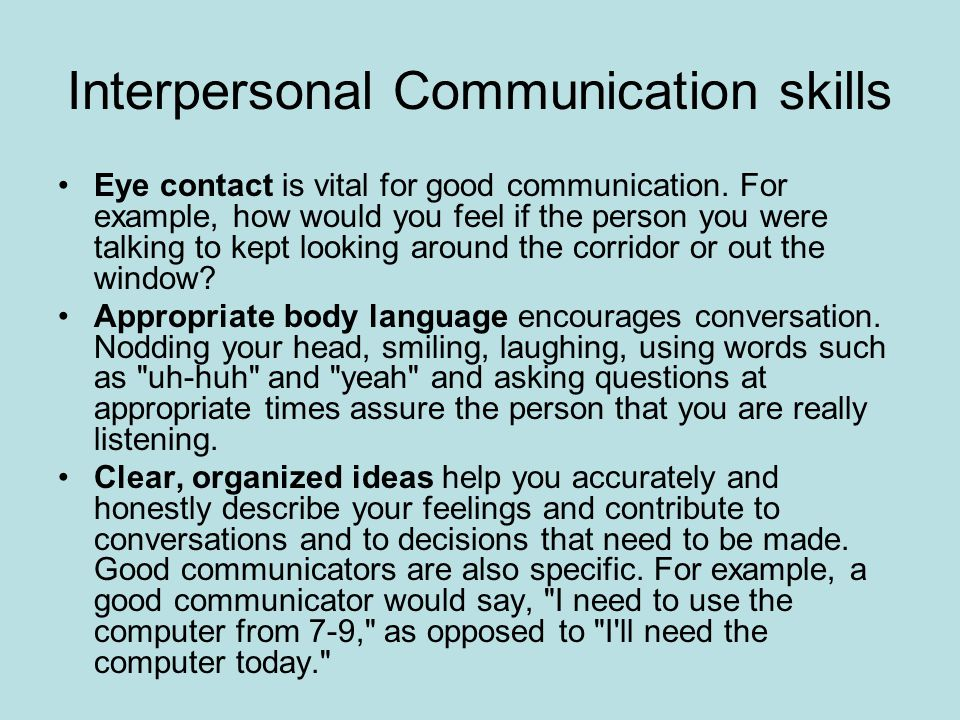 example of interpersonal skills