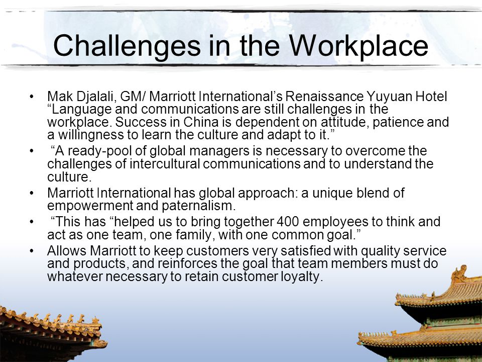 Challenges in the Workplace