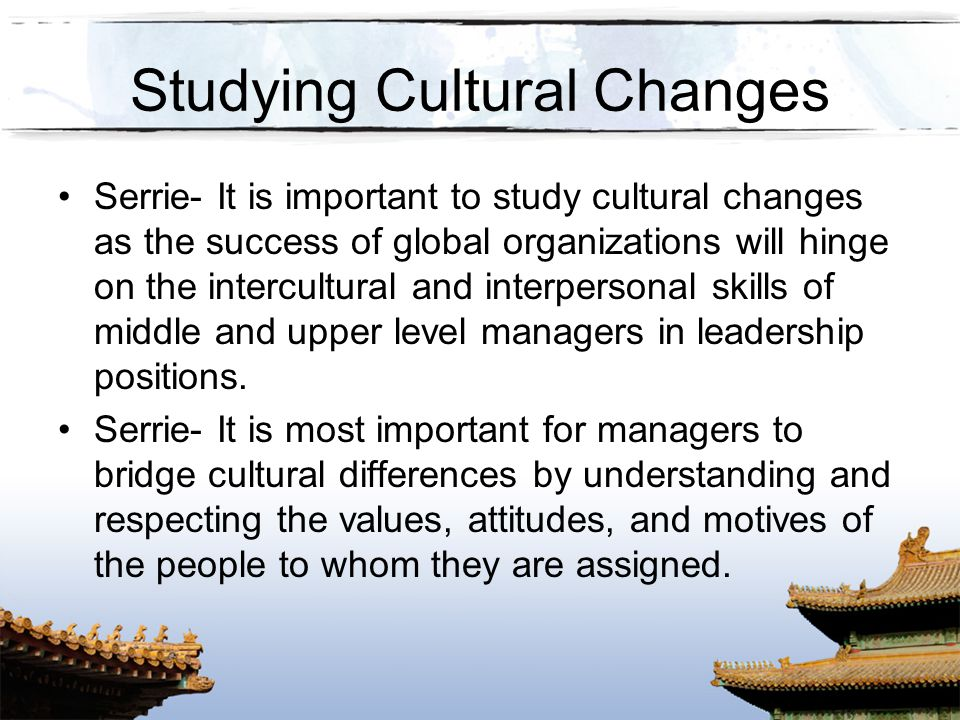Studying Cultural Changes