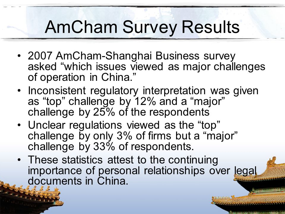 AmCham Survey Results 2007 AmCham-Shanghai Business survey asked which issues viewed as major challenges of operation in China.