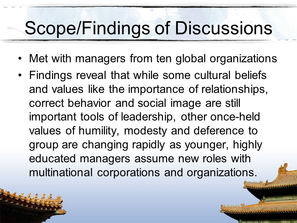Scope/Findings of Discussions