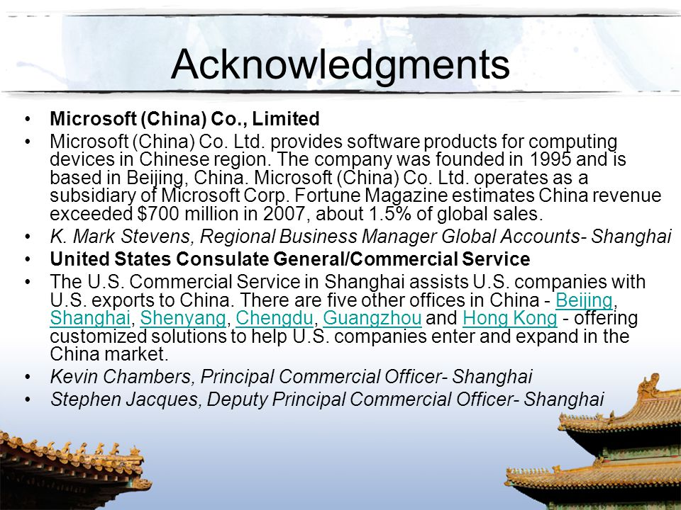 Acknowledgments Microsoft (China) Co., Limited