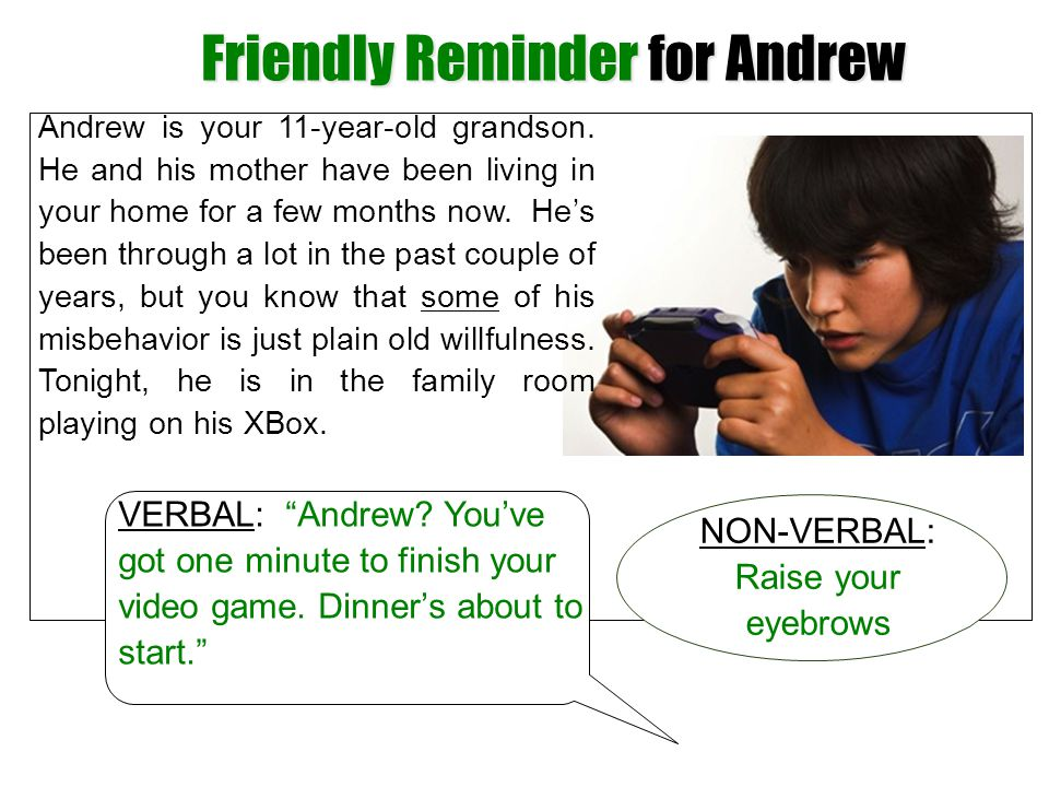 Friendly Reminder for Andrew
