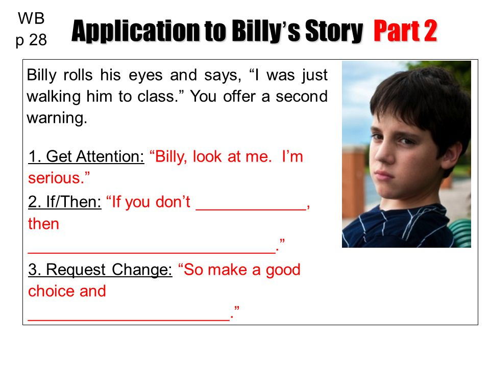 Application to Billy's Story Part 2