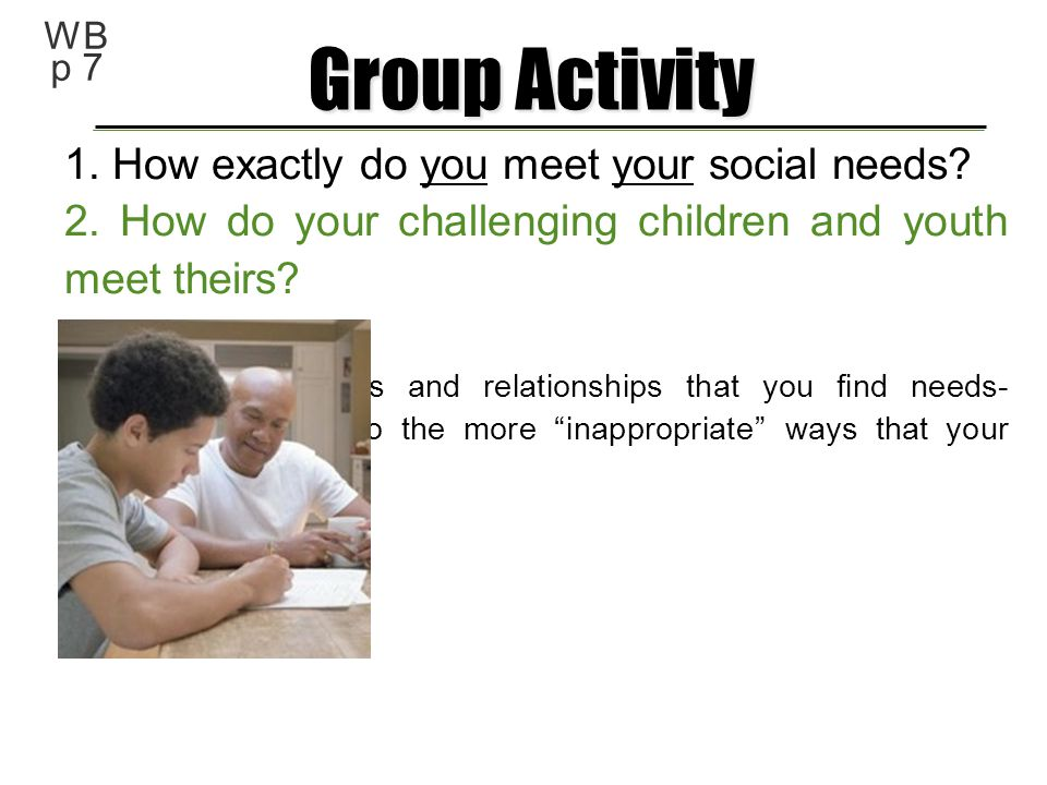 Group Activity 1. How exactly do you meet your social needs