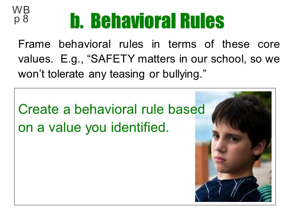 b. Behavioral Rules Create a behavioral rule based