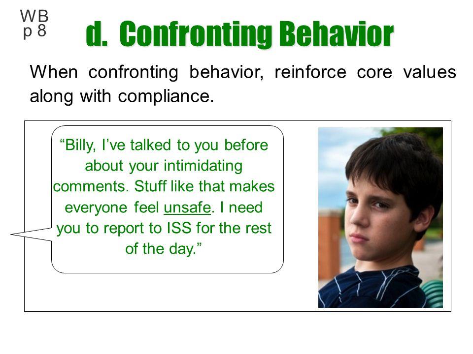 d. Confronting Behavior