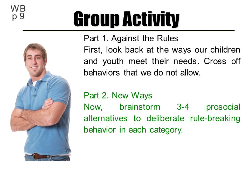 Group Activity WB p 9 Part 1. Against the Rules