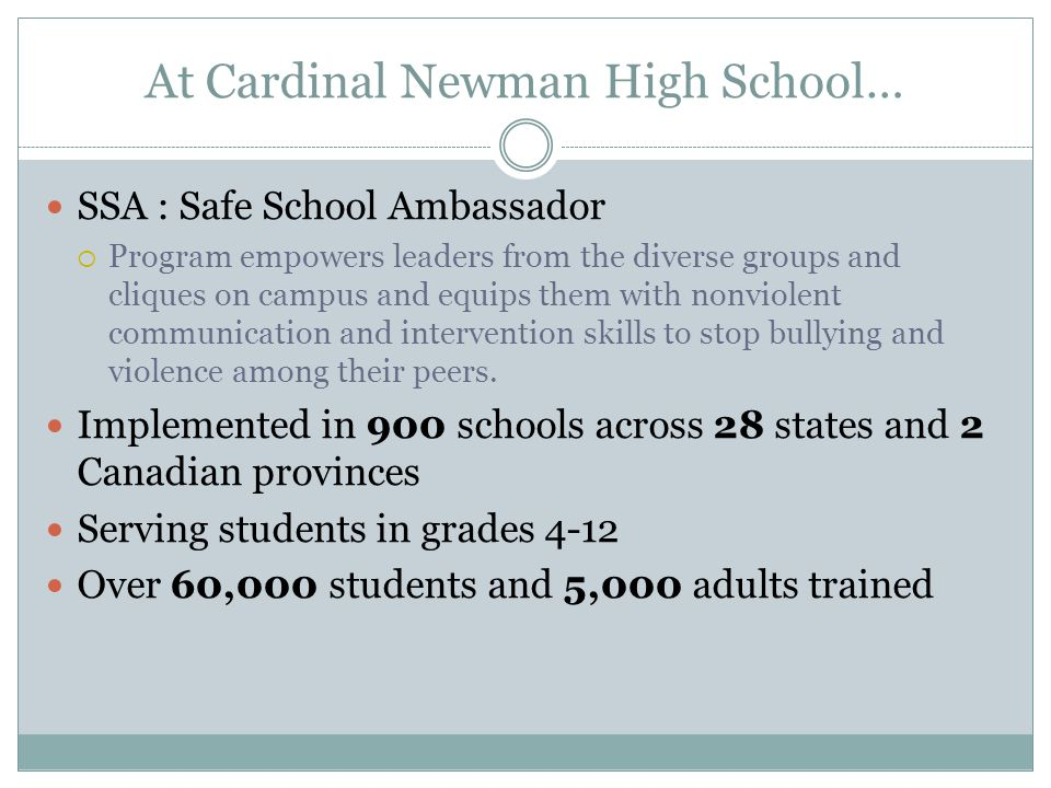 At Cardinal Newman High School…