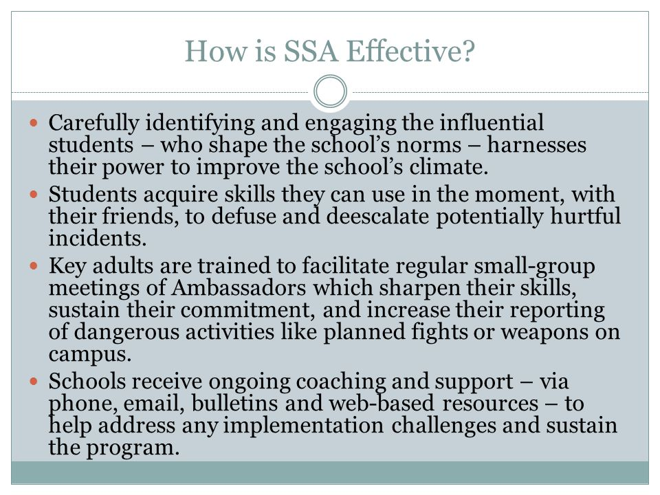 How is SSA Effective