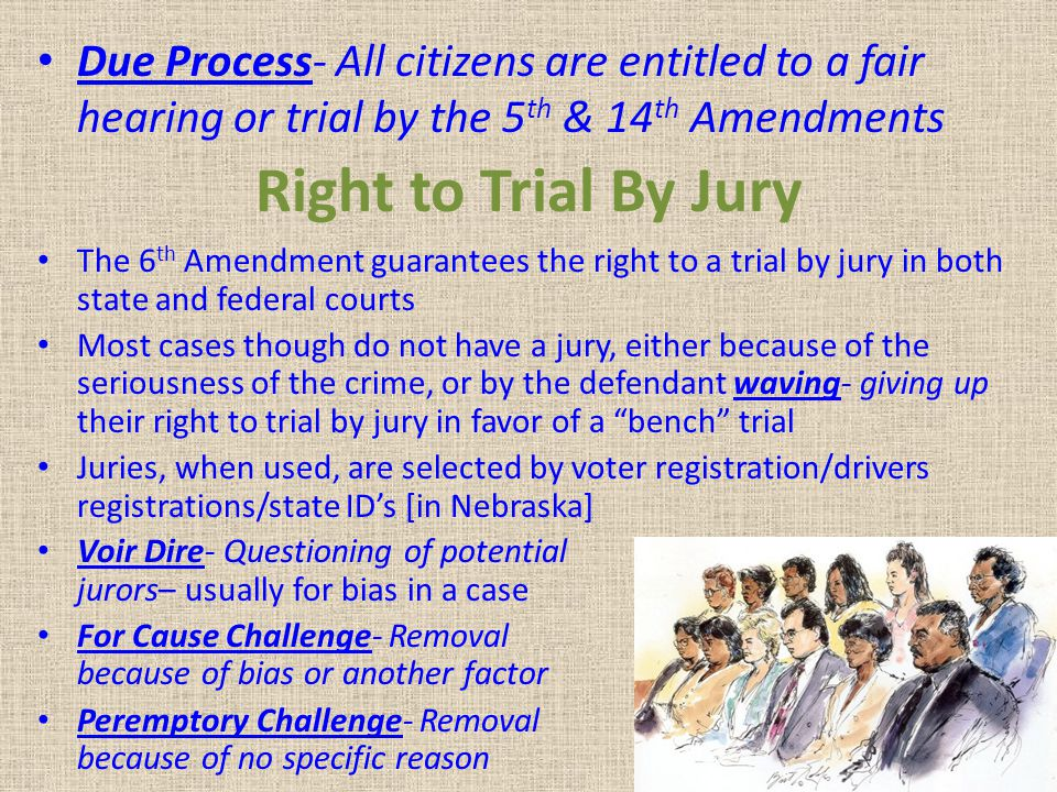 Due Process- All citizens are entitled to a fair hearing or trial by the 5th & 14th Amendments