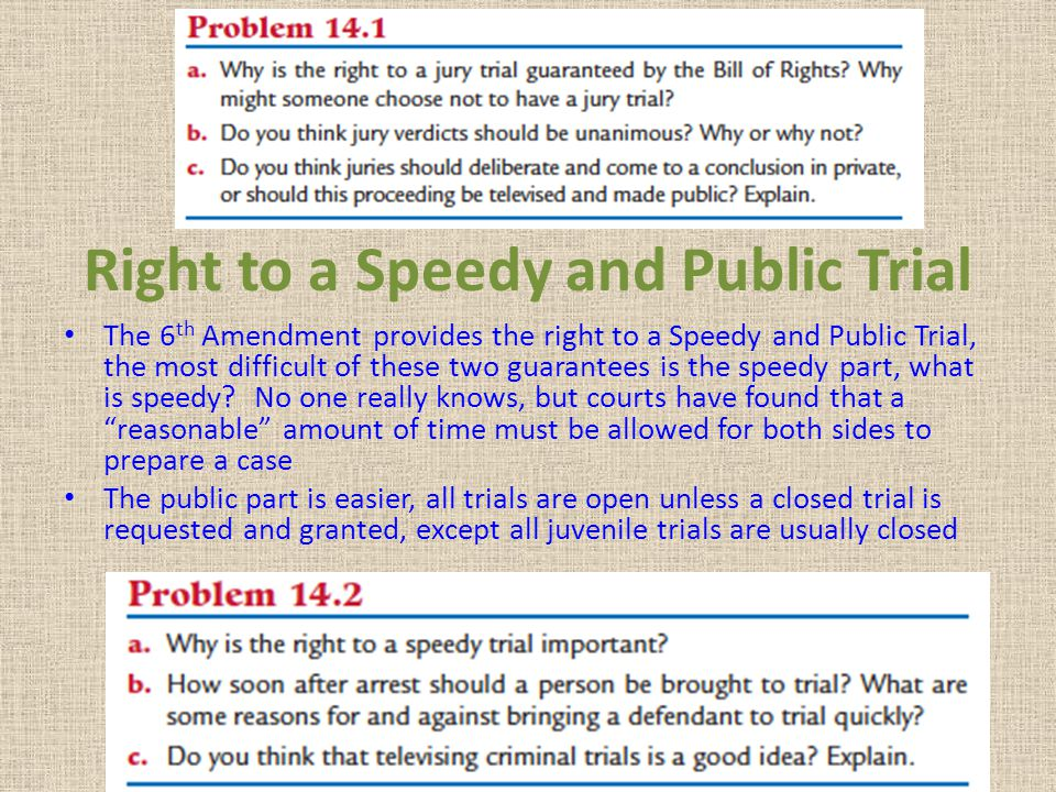 Right to a Speedy and Public Trial