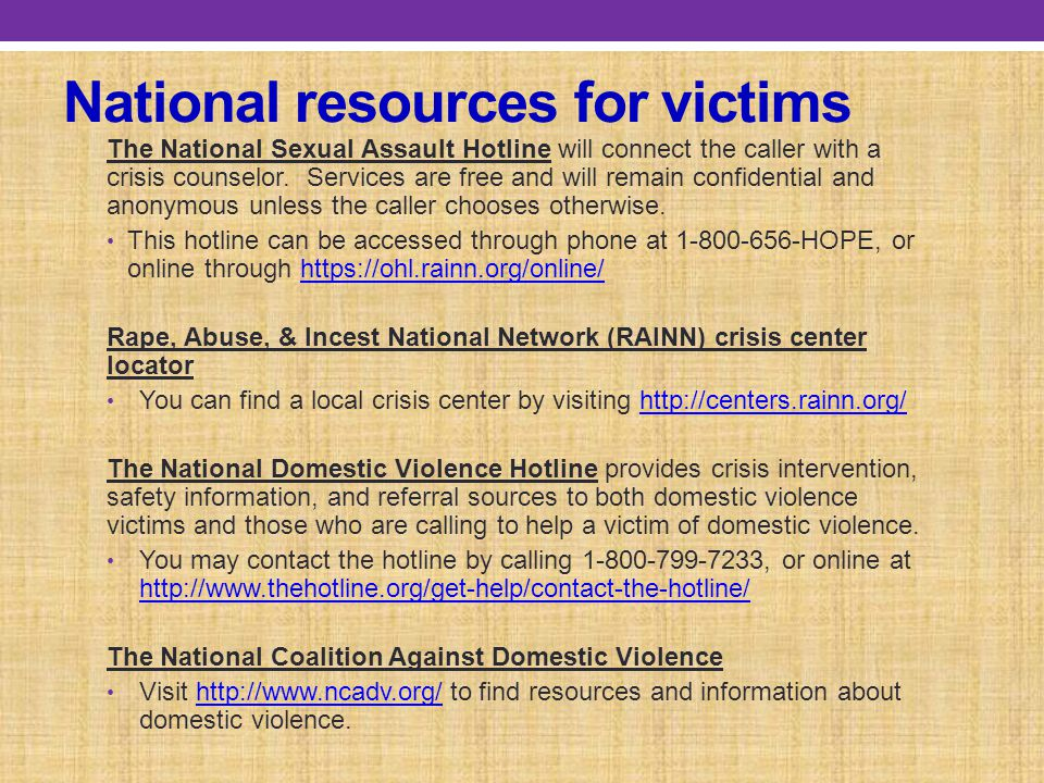 National resources for victims
