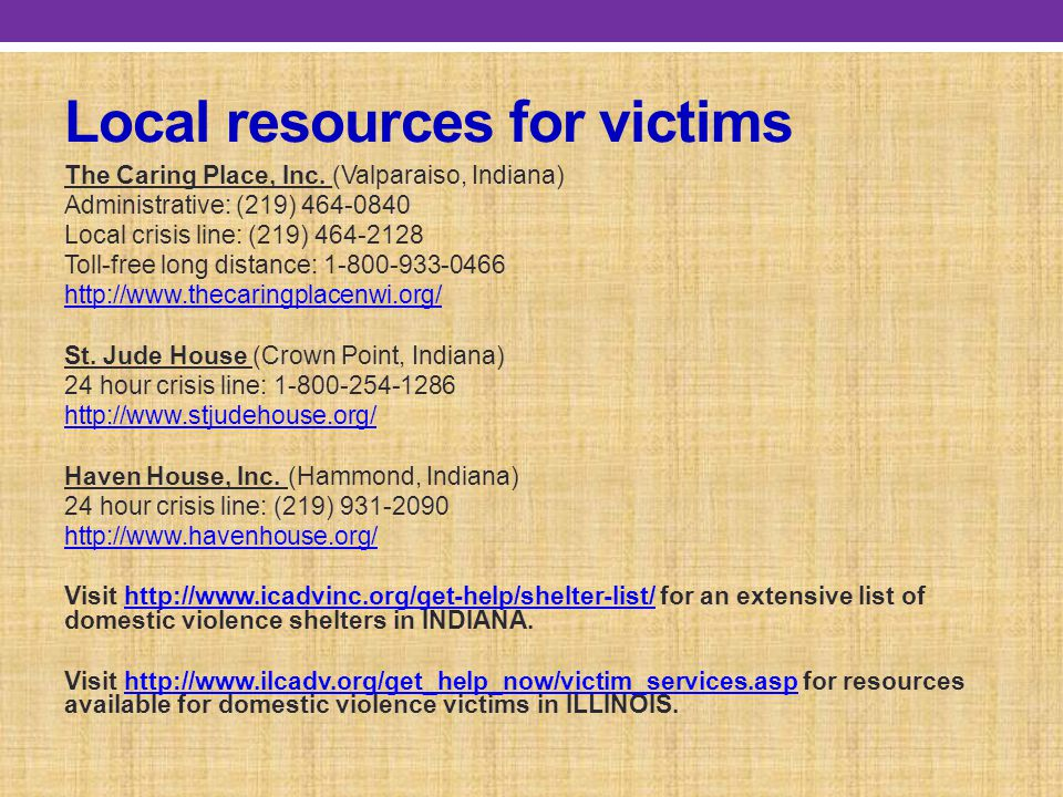 Local resources for victims