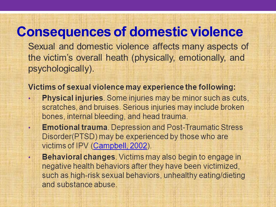 Consequences of domestic violence