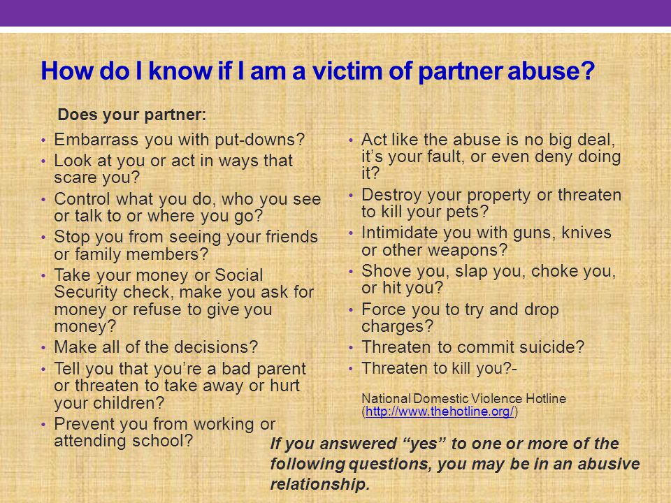 How do I know if I am a victim of partner abuse
