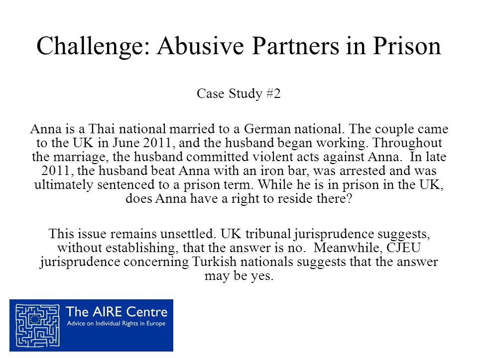 Challenge: Abusive Partners in Prison