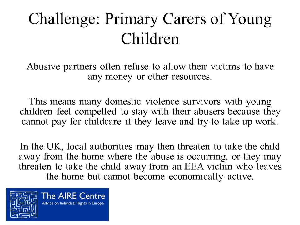 Challenge: Primary Carers of Young Children