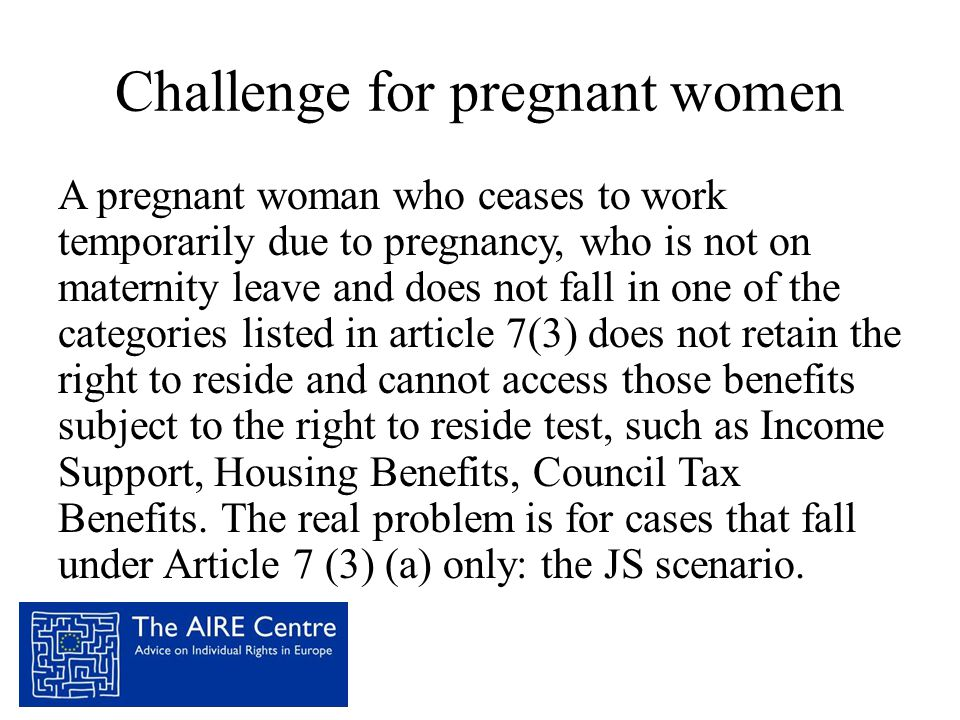 Challenge for pregnant women
