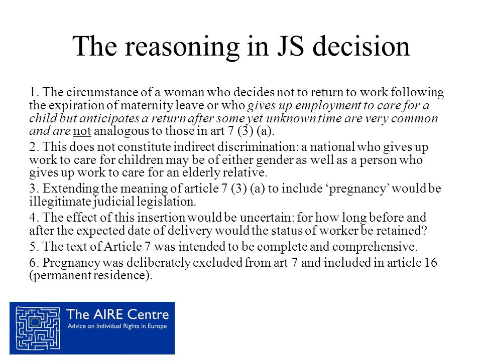 The reasoning in JS decision