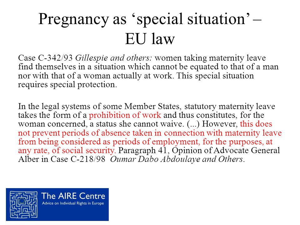 Pregnancy as 'special situation' – EU law
