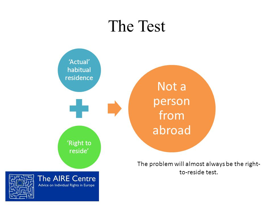 The Test Not a person from abroad 'Actual' habitual residence