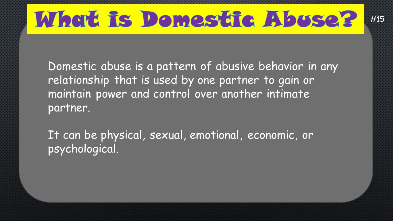 What is Domestic Abuse #15.