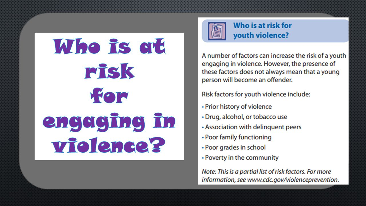 Who is at risk for engaging in violence