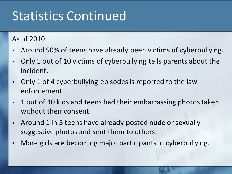 Statistics Continued As of 2010: