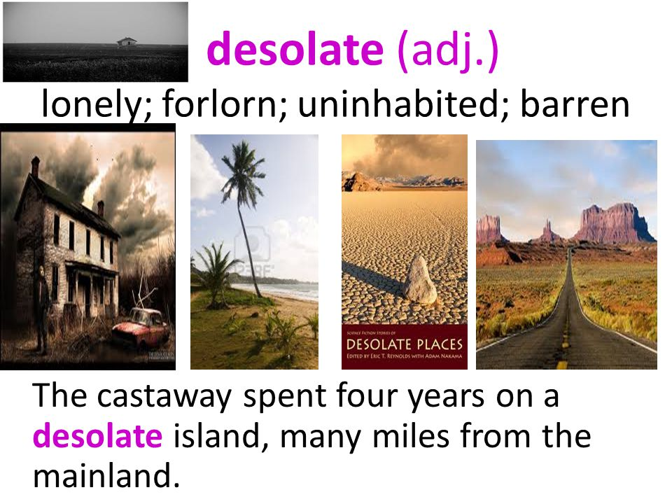 desolate (adj.) lonely; forlorn; uninhabited; barren