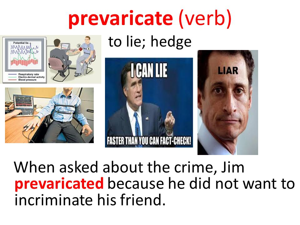 prevaricate (verb) to lie; hedge
