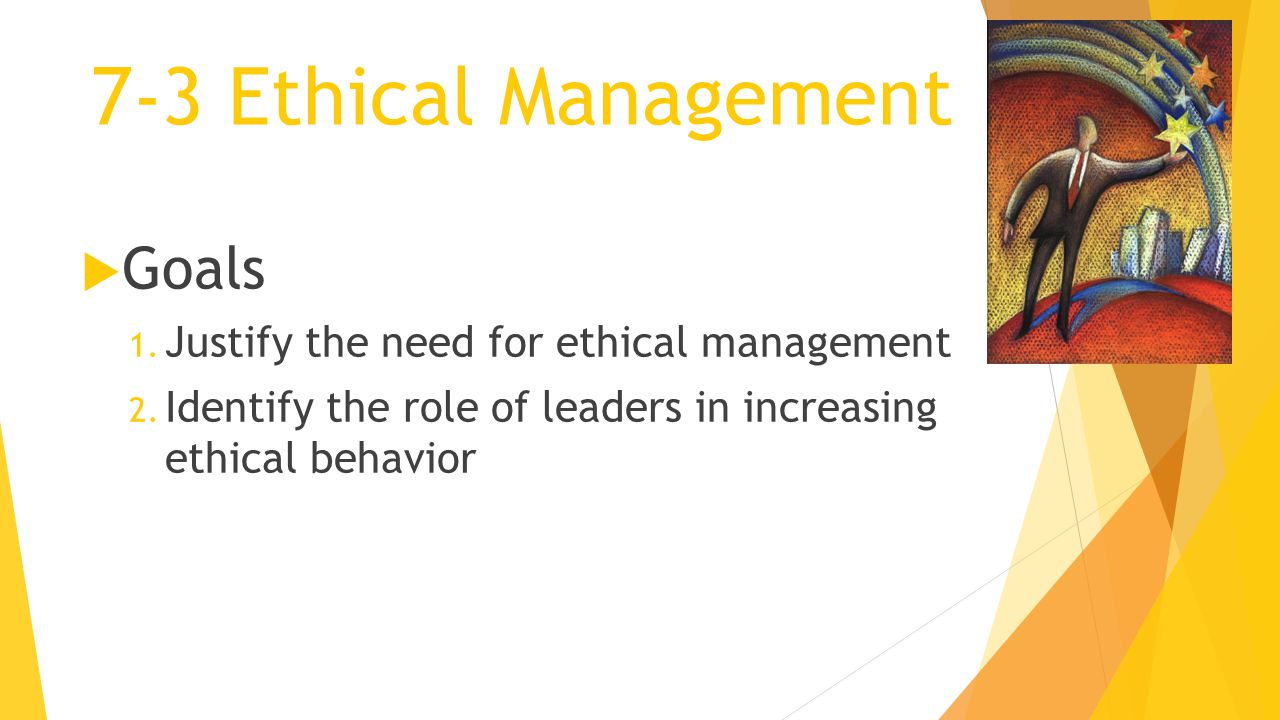 7-3 Ethical Management Goals Justify the need for ethical management