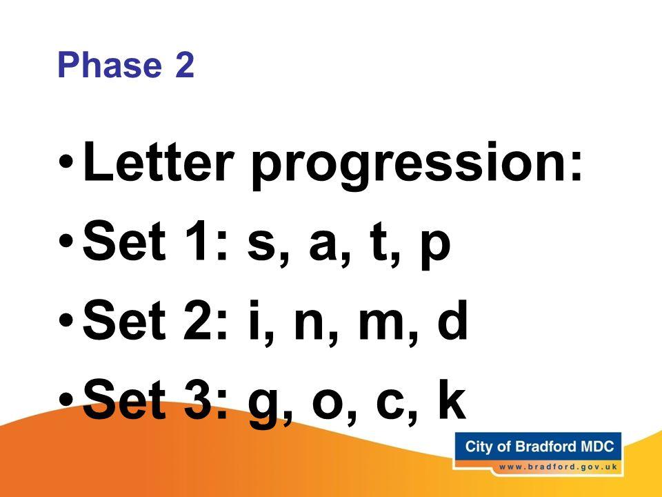 Letter progression: Set 1: s, a, t, p Set 2: i, n, m, d