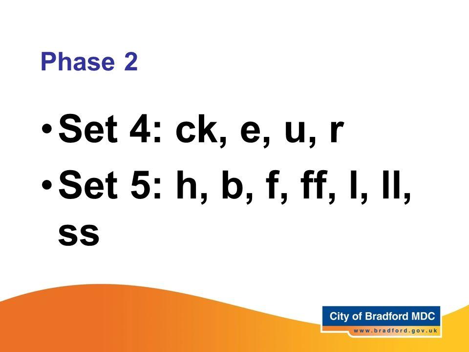 Set 4: ck, e, u, r Set 5: h, b, f, ff, l, ll, ss Phase 2