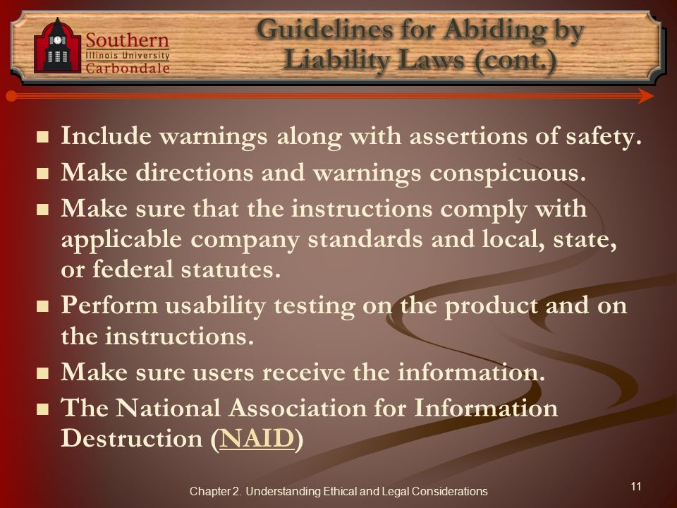 Guidelines for Abiding by Liability Laws (cont.)