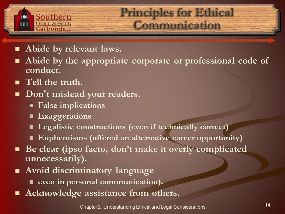 Principles for Ethical Communication