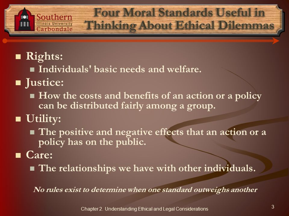 Four Moral Standards Useful in Thinking About Ethical Dilemmas