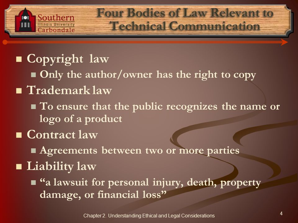 Four Bodies of Law Relevant to Technical Communication