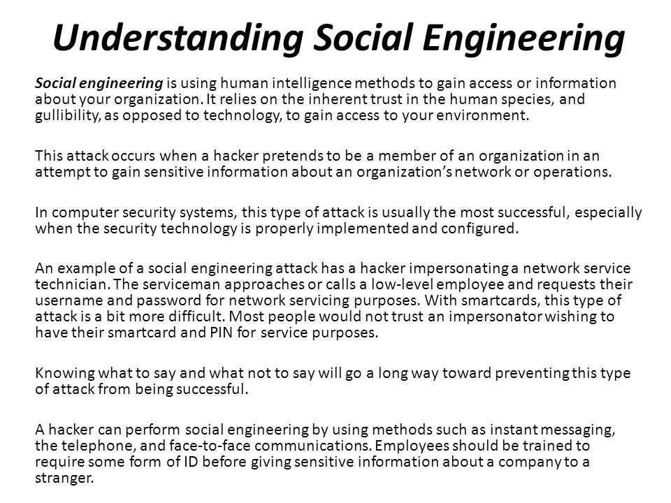 Understanding Social Engineering
