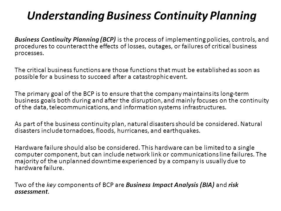 Understanding Business Continuity Planning