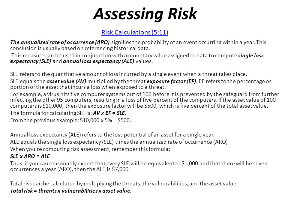 Assessing Risk Risk Calculations (5:11)