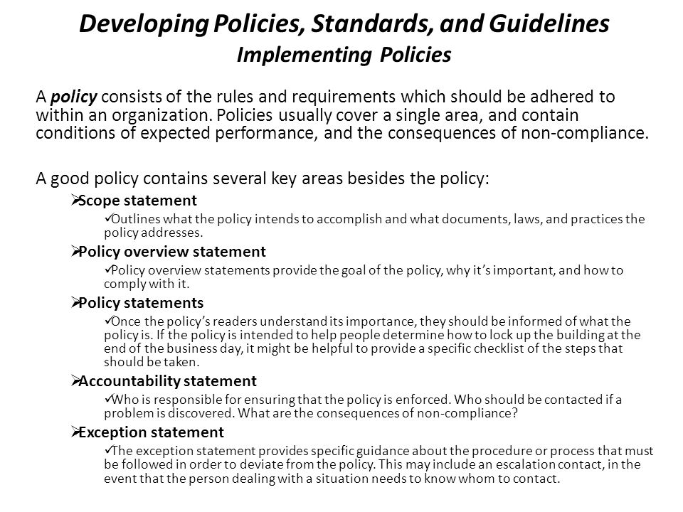 Developing Policies, Standards, and Guidelines Implementing Policies