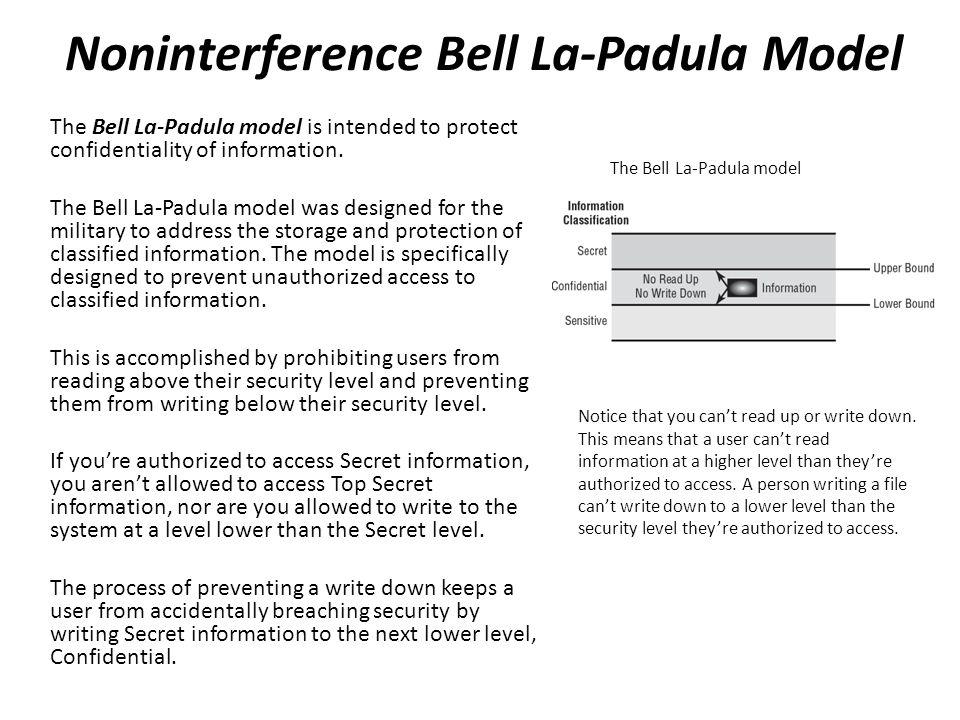 Noninterference Bell La-Padula Model