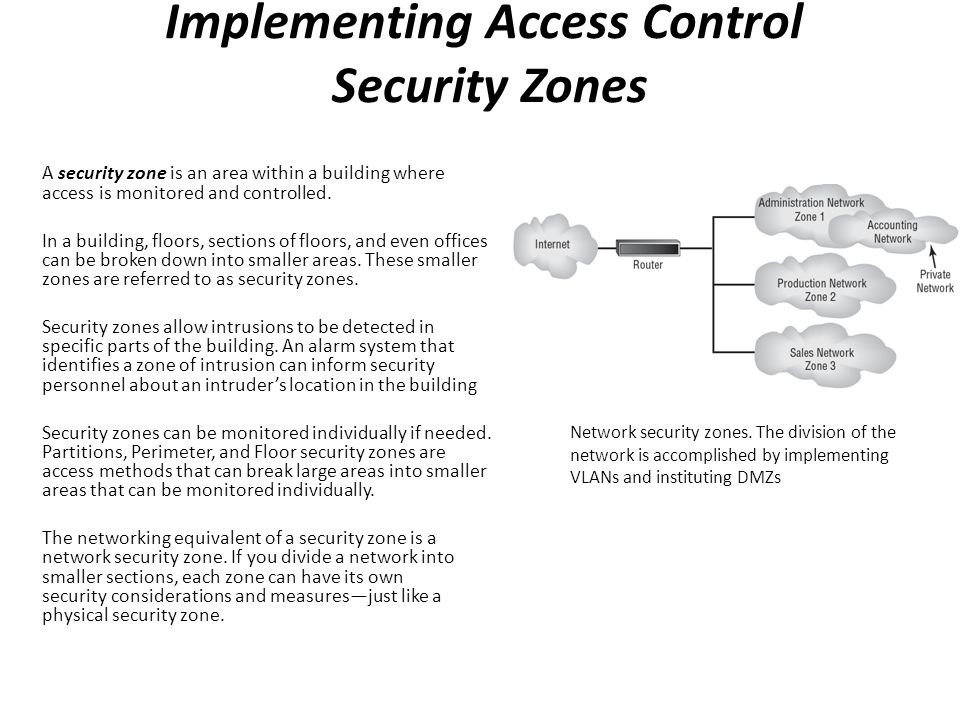 Implementing Access Control Security Zones