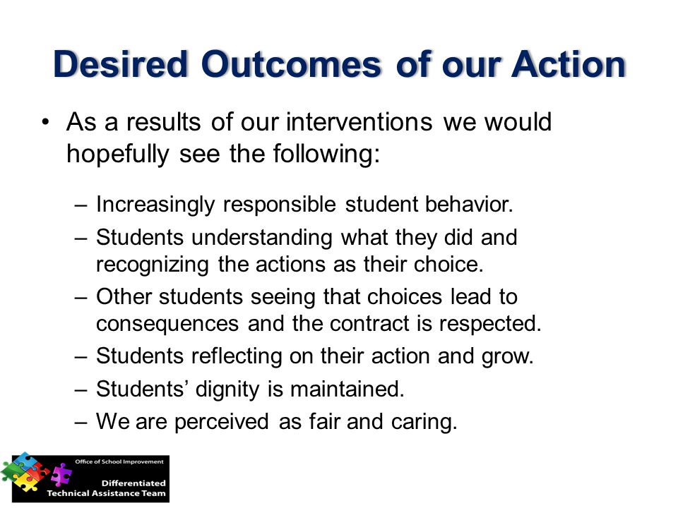 Desired Outcomes of our Action
