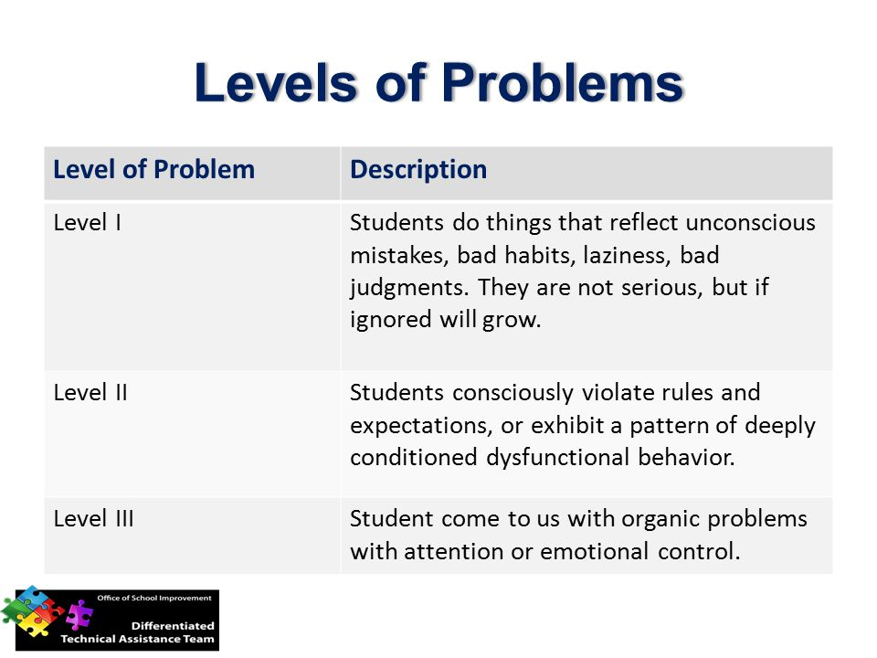 Levels of Problems Level of Problem Description Level I