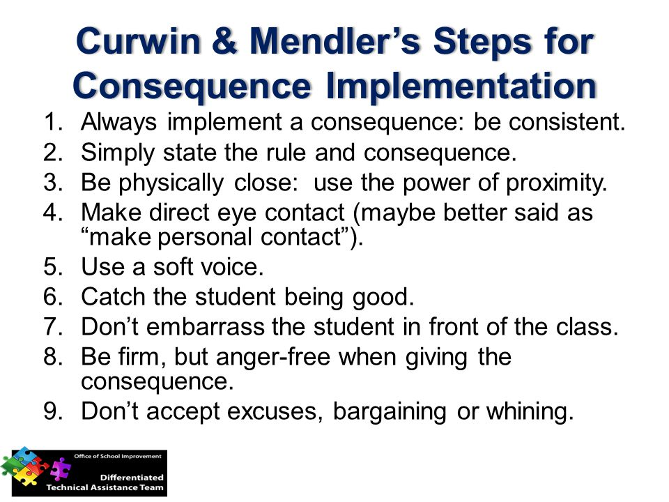 Curwin & Mendler's Steps for Consequence Implementation