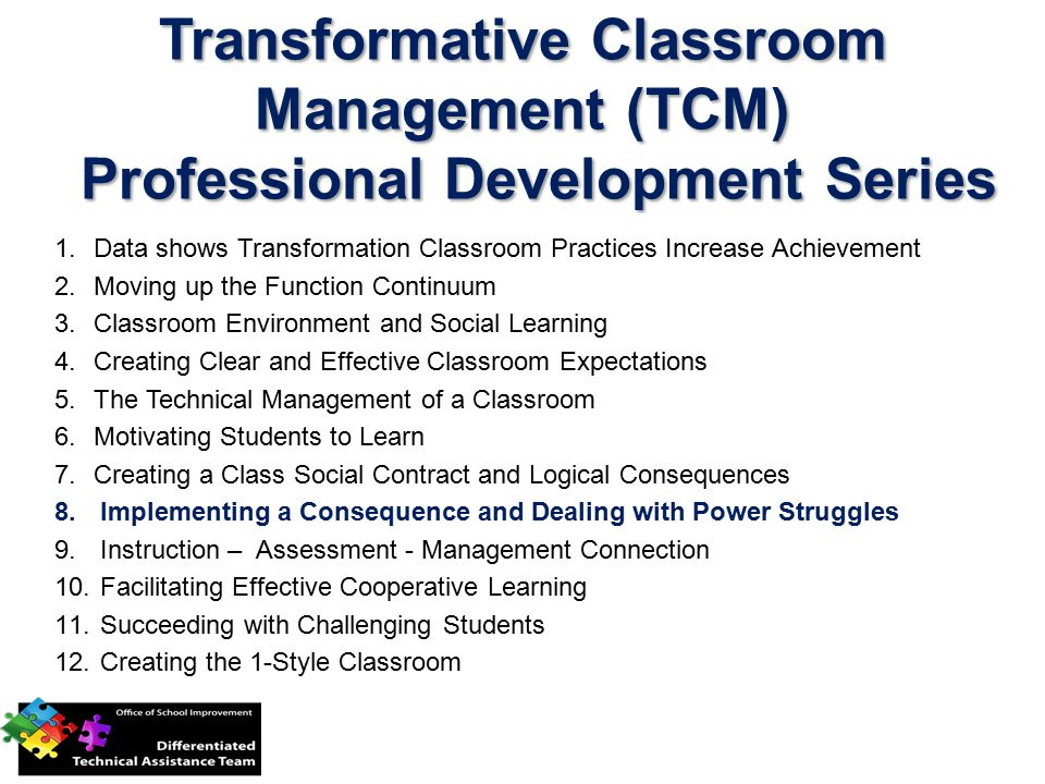 Transformative Classroom Management (TCM) Professional Development Series