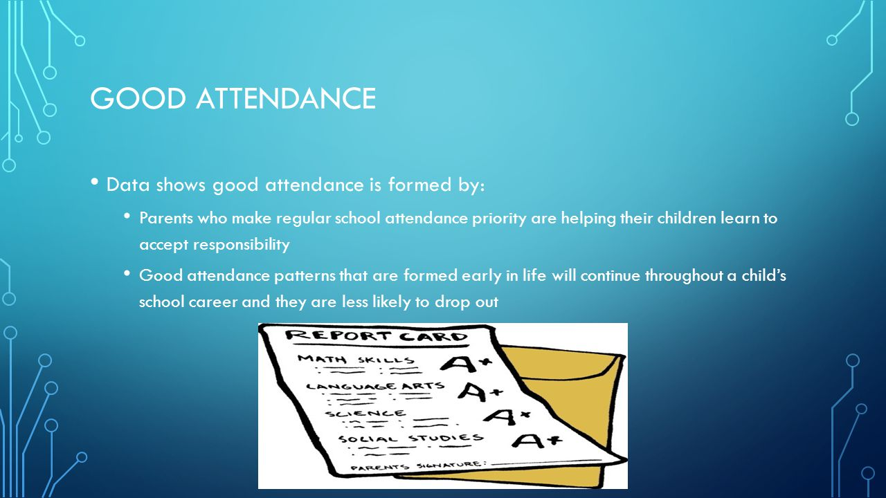 Good attendance Data shows good attendance is formed by: